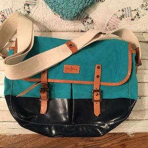 NWT COLE HAAN CANVAS LEATHER MESSENGER UTILITY BAG